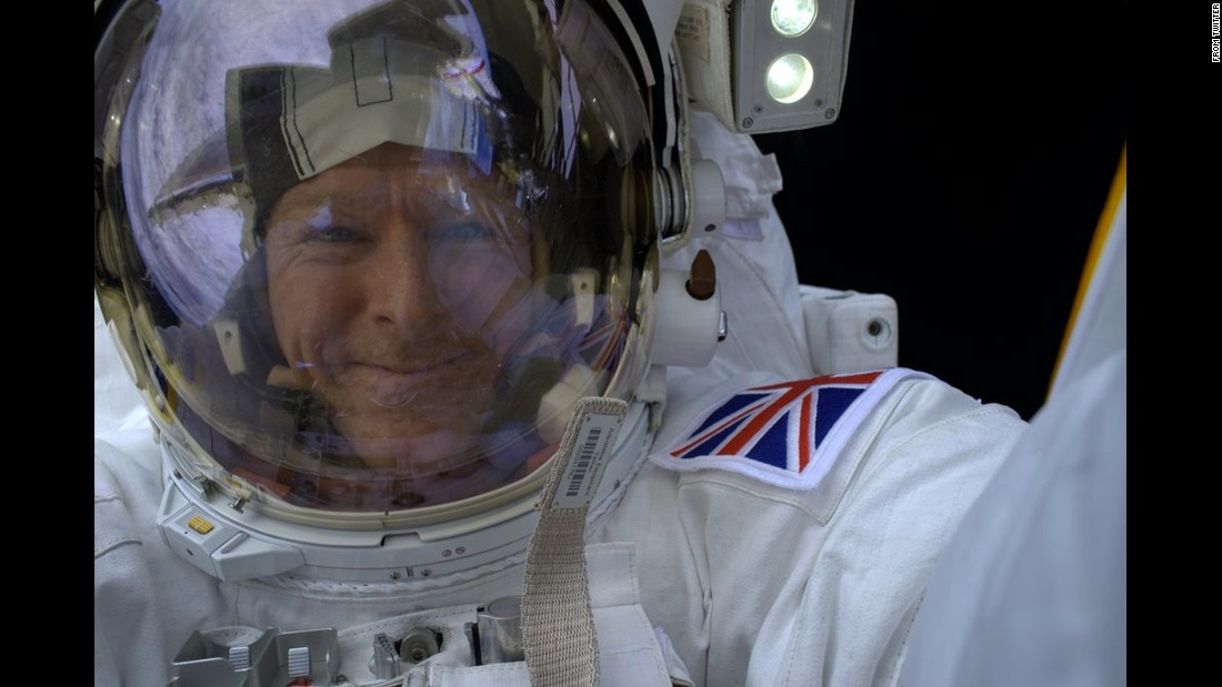 "British astronaut Tim Peake <a href=""https://twitter.com/astro_timpeake/status/688794621116305408"" target=""_blank"">tweeted this photo</a> from his spacewalk on Sunday, January 17. ""I think I found the perfect spot for a #selfie,"" he said."