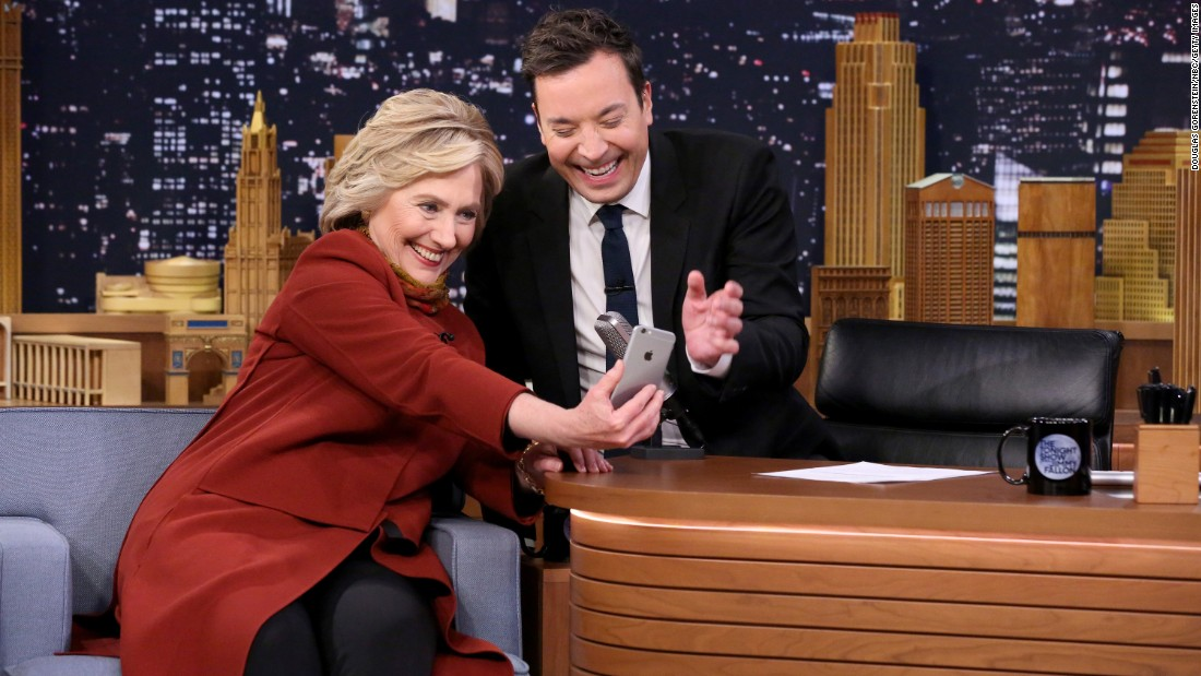 """Tonight Show"" host Jimmy Fallon takes a Snapchat selfie with presidential candidate Hillary Clinton on Thursday, January 14."
