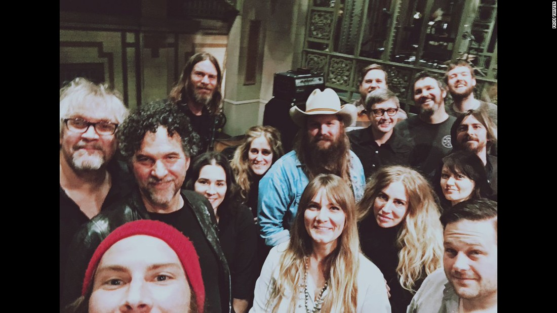 """Saturday Night Live"" <a href=""https://twitter.com/nbcsnl/status/687784060152901633"" target=""_blank"">tweeted this ""soundcheck selfie""</a> with country singer Chris Stapleton on Thursday, January 14. Stapleton, wearing the cowboy hat, was the show's musical guest this past weekend."