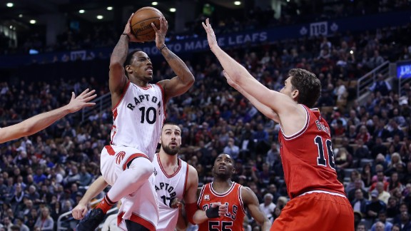 DeRozan (#10) is a spectacular scorer for Toronto, but featured only a bit role on Team USA