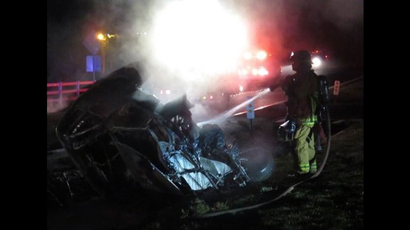 The pickup truck's driver had numerous injuries, officials said.