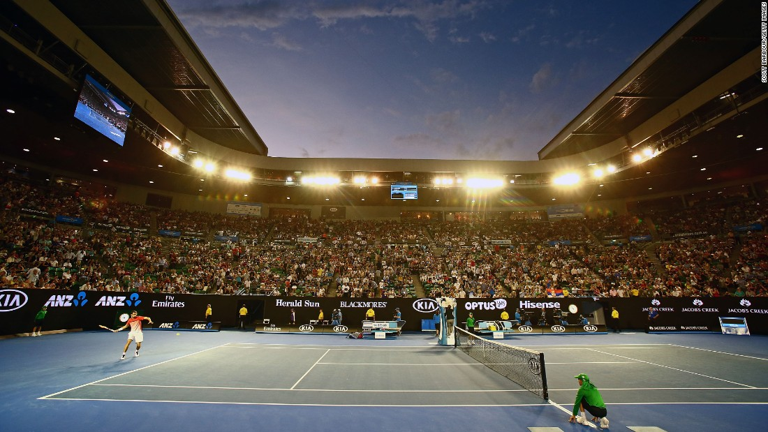 Melbourne's Rod Laver Arena is pictured as Halys takes on  Djokovic Wednesday.