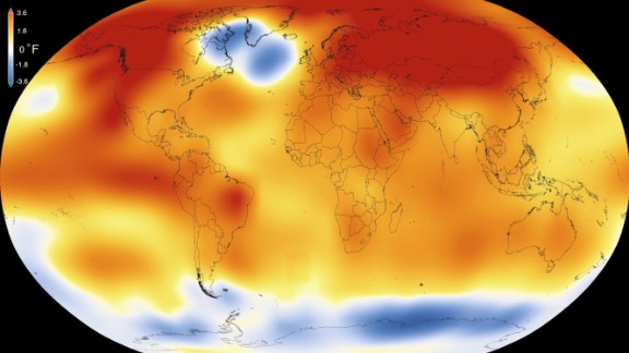 This illustration obtained from NASA on January 20, 2016 shows that 2015 was the warmest year since modern record-keeping began in 1880, according to a new analysis by NASAs Goddard Institute for Space Studies.