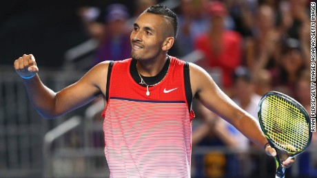 Nick Kyrgios celebrates match point in his second round Australian Open match against Pablo Cuevas.