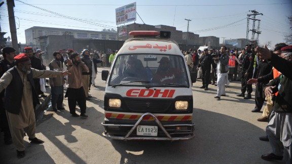 An ambulance carrying injured victims enters a hospital on January 20.