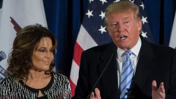 AMES, IA - JANUARY 19:   Republican presidential candidate Donald Trump speaks as former Alaska Gov. Sarah Palin looks on at Hansen Agriculture Student Learning Center at Iowa State University on January 19, 2016 in Ames, IA. Trump received the endorsement of former Alaska Gov. Sarah Palin.  (Photo by Aaron P. Bernstein/Getty Images)