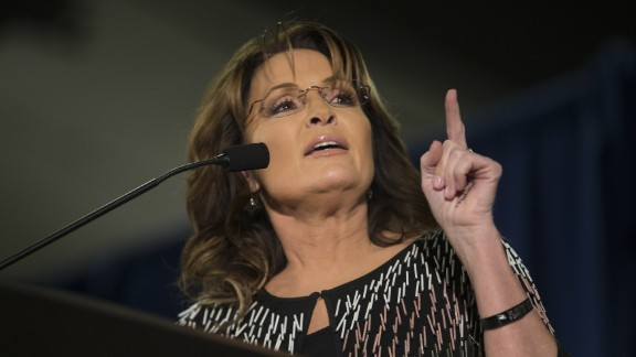 AMES, IA - JANUARY 19:   Former Alaska Gov. Sarah Palin speaks at Hansen Agriculture Student Learning Center at Iowa State University on January 19, 2016 in Ames, IA. Palin endorsed Donald Trump