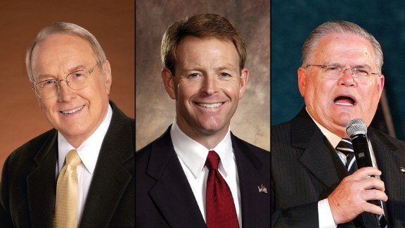 From left, James Dobson, Tony Perkins and John Hagee represent the old guard.