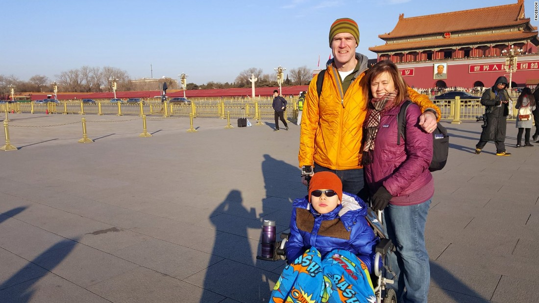 Sightseeing in China. Jiajia and the Wilsons visit Tiananmen Square in Beijing before the long trip back to Missouri.