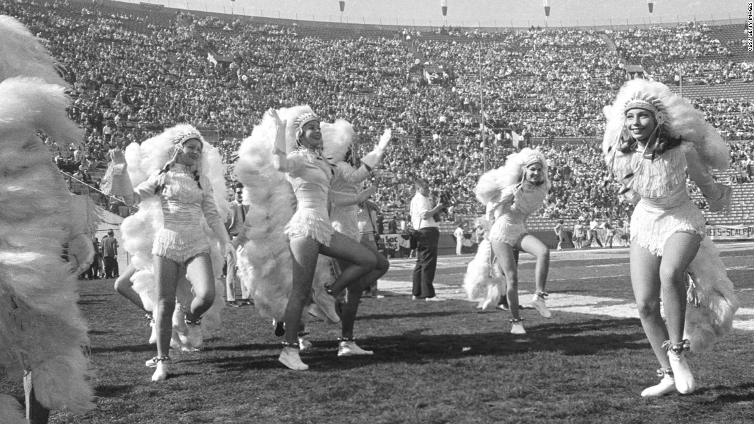 Cheerleaders perform during the game.