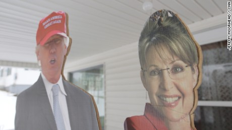 Residents in Northern Vermont placed huge cardboard cutouts of Sarah Palin and Donald Trump.
