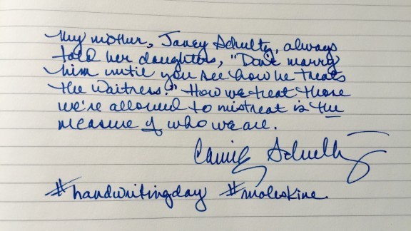 On January 23, the birthday of John Hancock (the guy with the most famous signature ever), America celebrates National Handwriting Day. The notebook company Moleskine encourages social media users to post a handwritten note using the hashtags #handwritingday and #moleskine.  Here, writer Connie Schultz shares homespun wisdom from her mother, Janey. Click through for more examples from writers, actors and other well-known Americans.