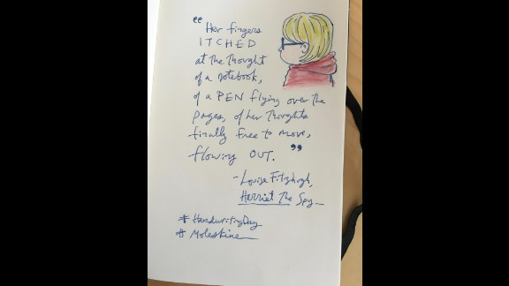 """Cartoonist and writer Alison Bechdel quotes from Louise Fitzhugh's """"Harriet the Spy"""" in her #handwritingday offering."""