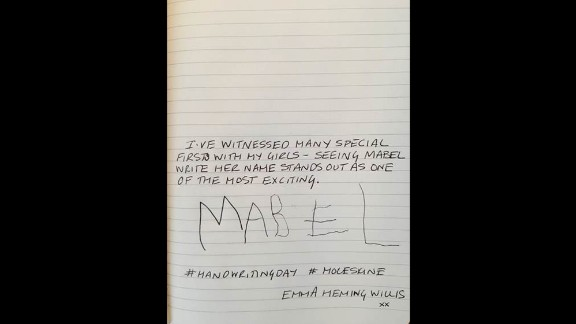 Model and actress Emma Heming Willis, wife of Bruce Willis, shares a sample of her daughter Mabel's penmanship.