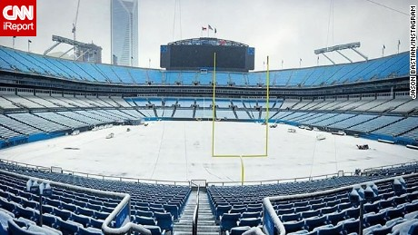 Jason Bastian, the Entertainment Coordinator for the Carolina Panthers,  took this photo of snow in Charlotte's Bank of America Stadium.