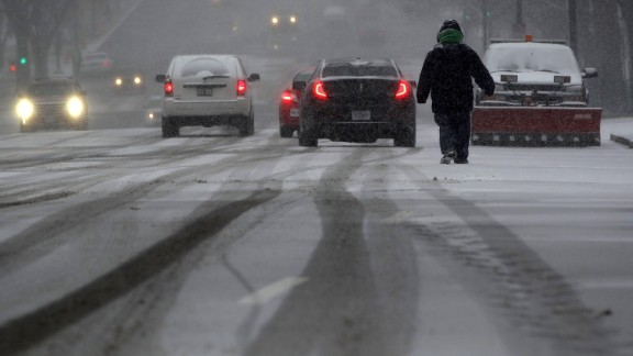 A man walks in the snow in Washington on January 22.