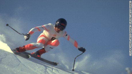 Bill Johnson in action at the 1984 Winter Olympics in Sarajevo.