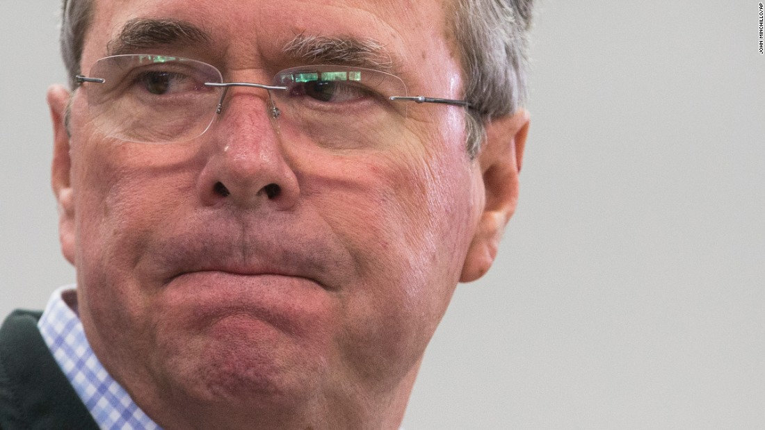 Republican presidential candidate Jeb Bush pauses as he speaks during a campaign stop in Newport, New Hampshire, on Thursday, January 21.