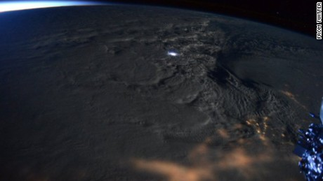 Thundersnow visible from space during a 2016 winter storm.