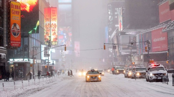 New York's Times Square was blanketed in snow on January 23.