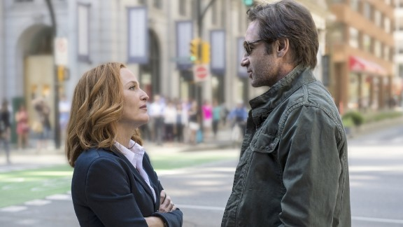 """Gillian Anderson as Dana Scully and David Duchovny as Fox Mulder in the Fox series """"The X-Files."""""""