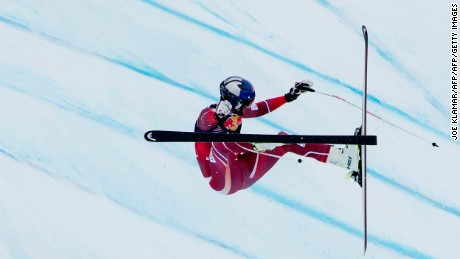Aksel Lund Svindal of Norway crashes during the men's downhill Ski World cup in Kitzbuhel, Austria.