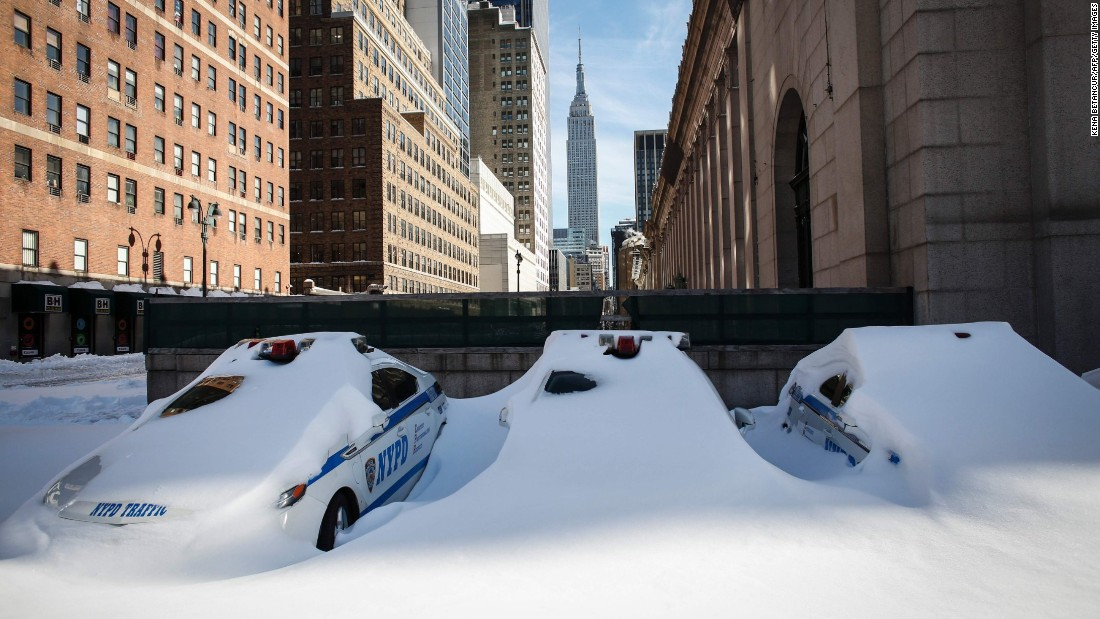 Police cars remain covered in snow in New York on January 24.