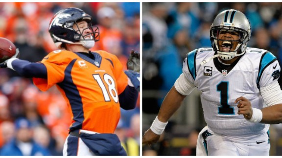 This is the fourth Super Bowl appearance for Denver Broncos quarterback Peyton Manning. It's the first for Carolina Panthers quarterback Cam Newton.