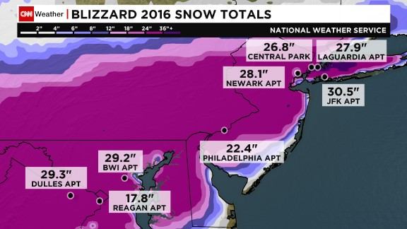 Snow totals throughout the region.