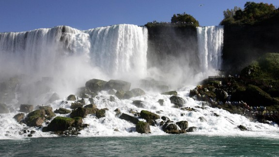 Part of the American portion of Niagara Falls, New York, where Tesla harnessed the power of the water to create one of the worl's first hydroelectric power stations, The Adams Plant. (Photo credit should read DON EMMERT/AFP/Getty Images)