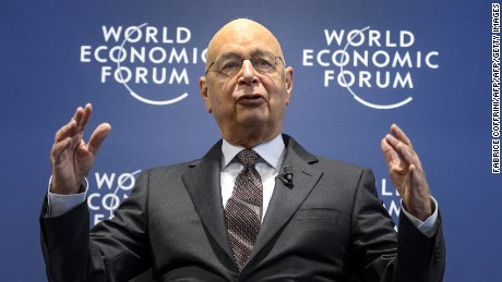 World Economic Forum (WEF) founder and executive chairman Klaus Schwab gestures as he addresses a news conference on the programme of the Davos World Economic Forum WEF annual meeting at the Forum's headquarters in Cologny, near Geneva, on January 13, 2016.   This year's edition of the forum gathering of top politicians and business leaders in the plush Swiss ski resort of Davos is scheduled to take place from January 20 to 23.  / AFP / FABRICE COFFRINI        (Photo credit should read FABRICE COFFRINI/AFP/Getty Images)