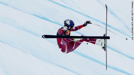 Aksel Lund Svindal of Norway crashes as he competes during the men's downhill of FIS Ski World cup in Kitzbuehel, Austria on January 23, 2016.   / AFP / JOE KLAMAR        (Photo credit should read JOE KLAMAR/AFP/Getty Images)