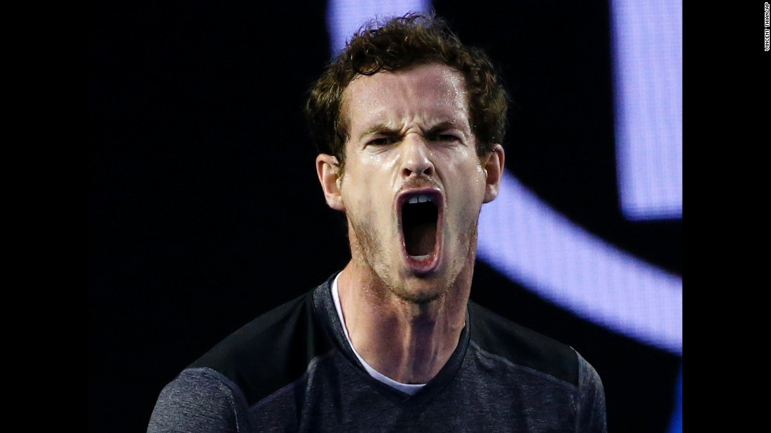 Andy Murray yells after winning a point at the Australian Open on Monday, January 25. Murray defeated Bernard Tomic in straight sets to advance to the quarterfinals.