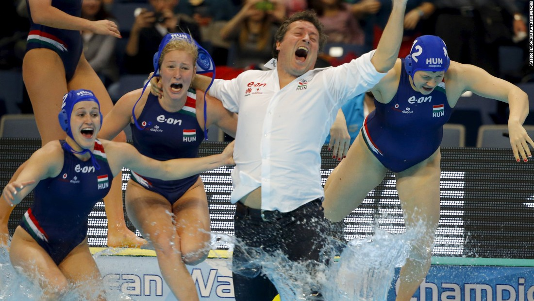 Water polo coach Attila Biro jumps into the pool after his Hungary team defeated the Netherlands to win the European Championship on Friday, January 22.