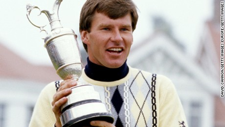 GULLANE, SCOTLAND - JULY 19:  Nick Faldo of England with The Claret Jug the Open Championship trophy after his win by one shot over Paul Azinger and Rodger Davis the 116th Open Championship played at Muirfield on July 19, 1987 in Gullane, Scotland.  (Photo by David Cannon/Getty Images)