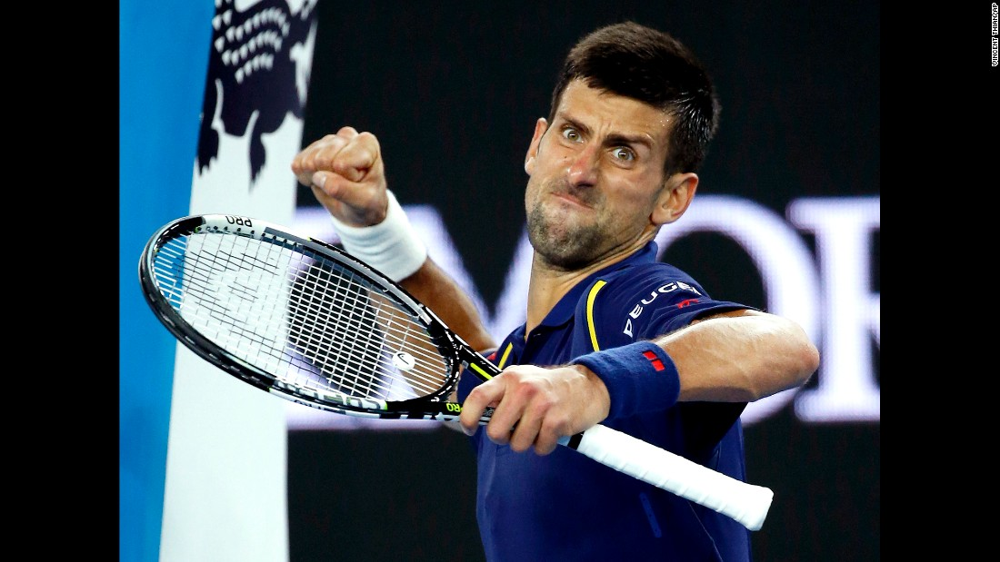 Novak Djokovic pumps his fist after defeating Andreas Seppi in the third round of the Australian Open on Friday, January 22.