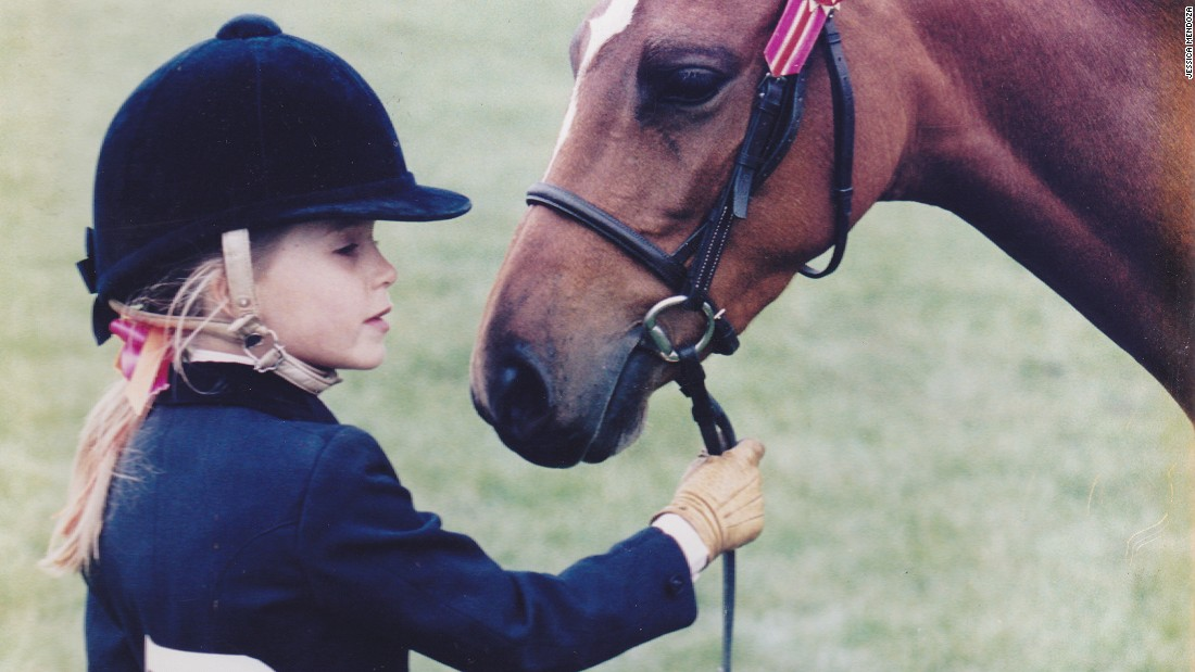 "A young Mendoza with her pony. ""I was off for quite a while -- several months actually -- and I still really wanted to go back riding,"" she recalls. <br />""I went back before I was actually allowed and it showed how much I really wanted to do it."""
