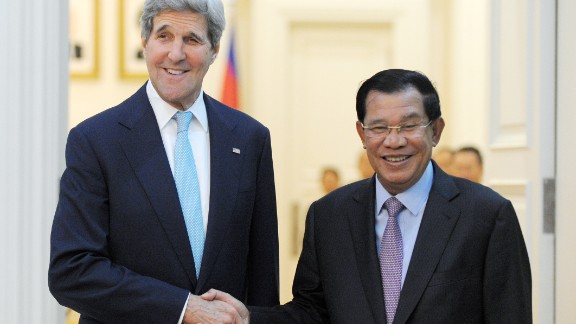 U.S. Secretary of State John Kerry, left, shakes hands with Cambodian Prime Minister Hun Sen during a meeting Tuesday at the Peace Palace in Phnom Penh, Cambodia.