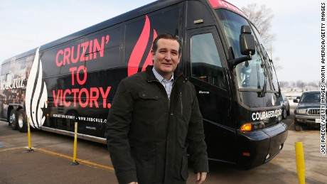 Republican presidential candidate Sen. Ted Cruz (R-TX) steps off his campaign bus for an event at the Jackson Fairgrounds on January 25, 2016 in Maquoketa, Iowa. Cruz continues his quest to become the Republican presidential nominee.