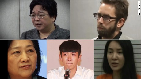 From top left: Hong Kong bookseller Gui Minhai, Swedish human rights activist Peter Dahlin,  Internet celebrity Guo Meimei, actor Kai Ko, journalist Gao Yu. All have appeared on CCTV and confessed to crimes.