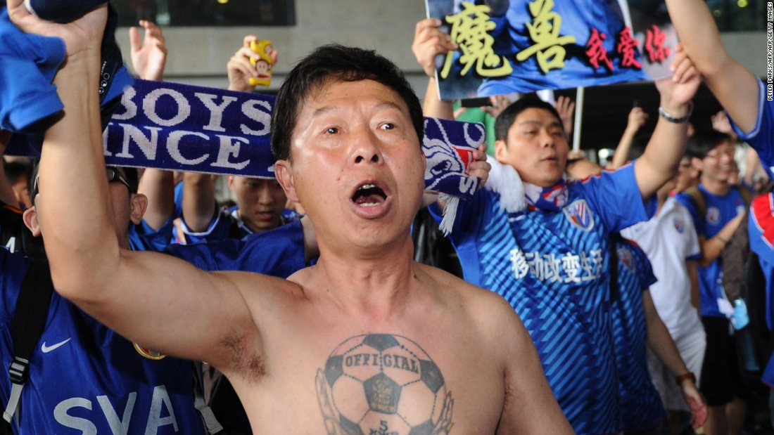 Shanghai Shenhua fans reacted with fervor after Drogba arrived at Pudong international airport in Shanghai on July 14, 2012. Though Drogba was reportedly signed on a £200,000 per week salary, he left China only six months later.