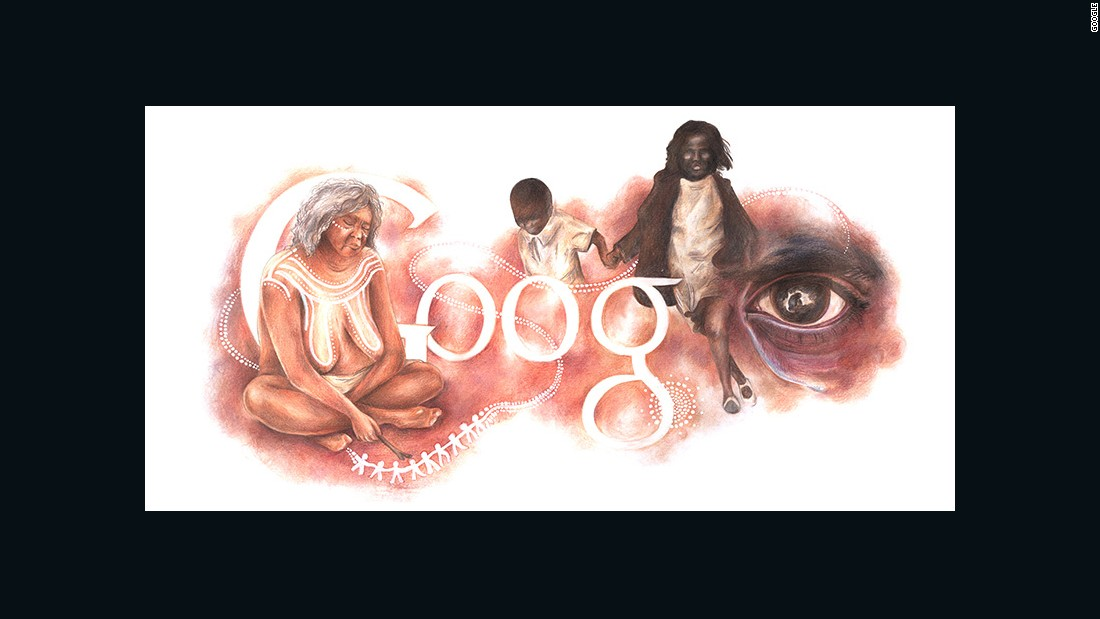 Google's 2016 Doodle for Australia Day, January 26, was designed by an Australian high school student. The thought-evoking imagery won praise for highlighting the suffering of the country's indigenous people.