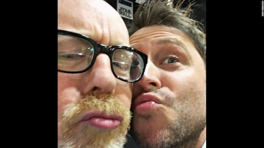 """Talking Dead"" and ""@midnight"" host Chris Hardwick, right, <a href=""https://www.instagram.com/p/BAz9ZwNJGt_/"" target=""_blank"">makes kissy faces</a> with ""MythBusters"" host Adam Savage on Thursday, January 21."