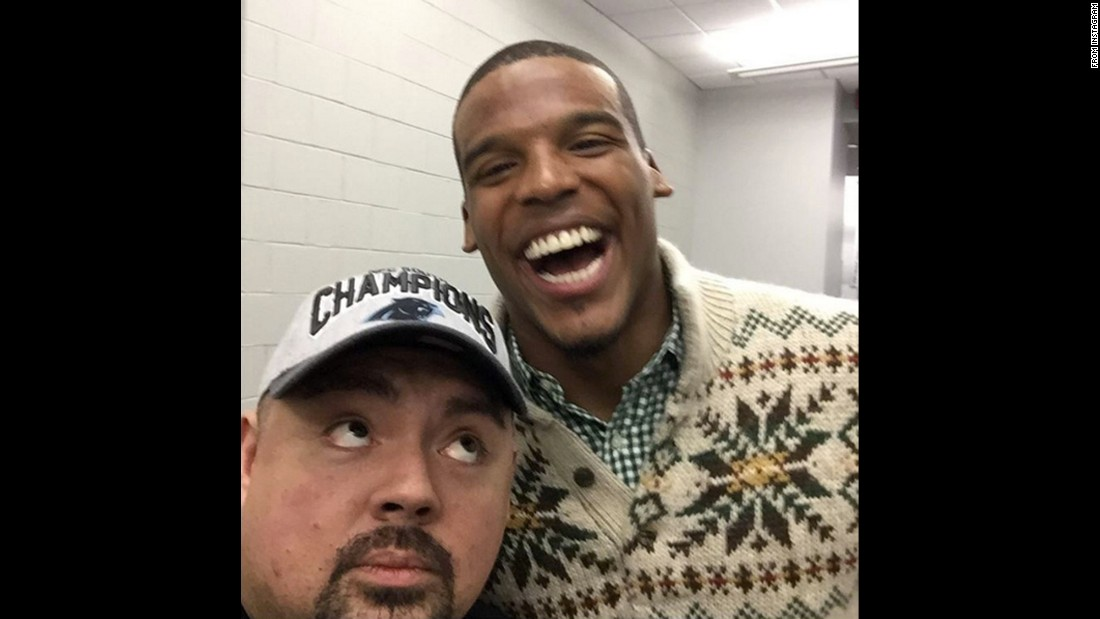 "Comedian Gabriel Iglesias, left, gets a selfie with quarterback Cam Newton after Newton's Carolina Panthers won the NFC Championship game on Sunday, January 24. ""See u at the Super Bowl,"" <a href=""https://www.instagram.com/p/BA8pfRRDfsg/"" target=""_blank"">Iglesias said on Instagram.</a> ""Thank u for being so cool."""