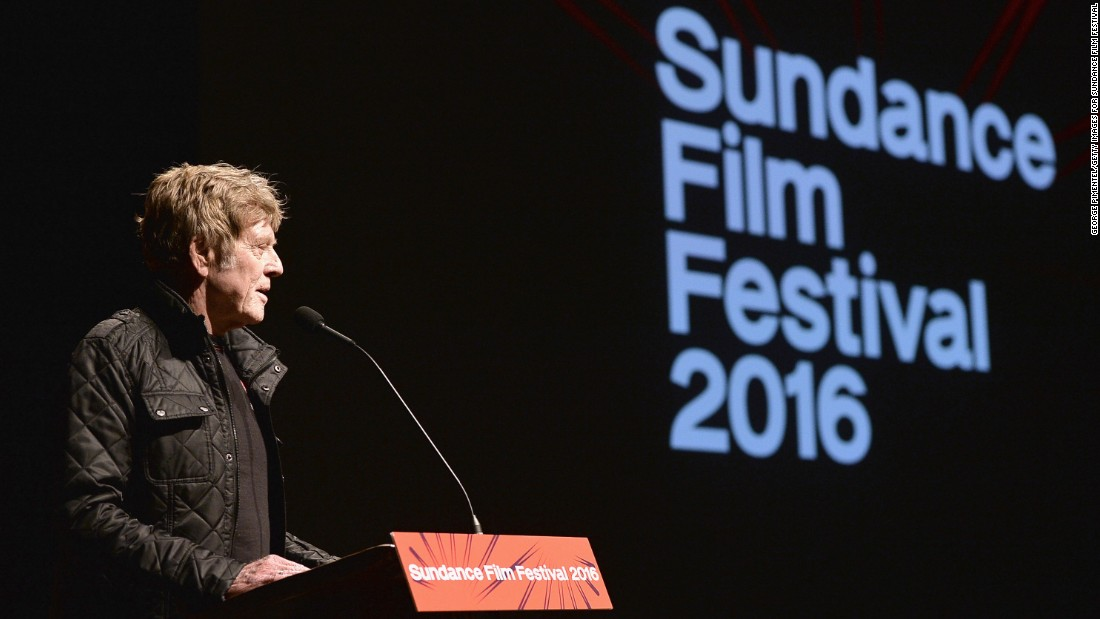 Sundance Institute president and founder Robert Redford speaks Friday at a premiere during the 2016 Sundance Film Festival. Here's a look at some other famous faces in Park City, Utah, this week for the festival, perhaps the leading launch pad for independent films.