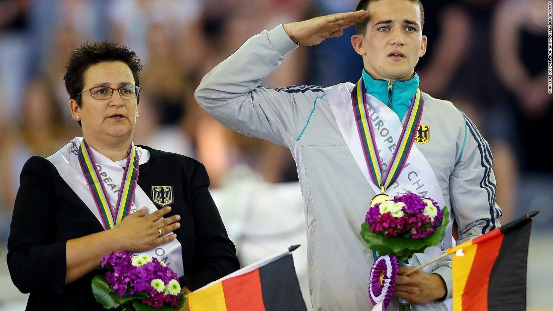 "Drewell and his mother Simone on the podium in Aachen at the 2015 FEI European Equestrian Championship. ""My mother is my trainer, my coach and my lunger (the person who holds the reins and keeps the horse cantering in a circle)."" She is really important for me because she does the work together with the horses. I don't know what it's like to have a trainer who's not your mother ... so yeah, that's really great!""<br />"