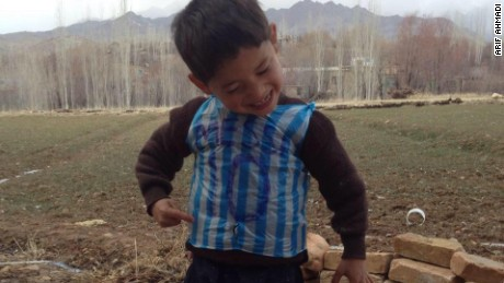 An image posted to Hamayon's Facebook page shows his little brother dancing in his makeshift shirt.