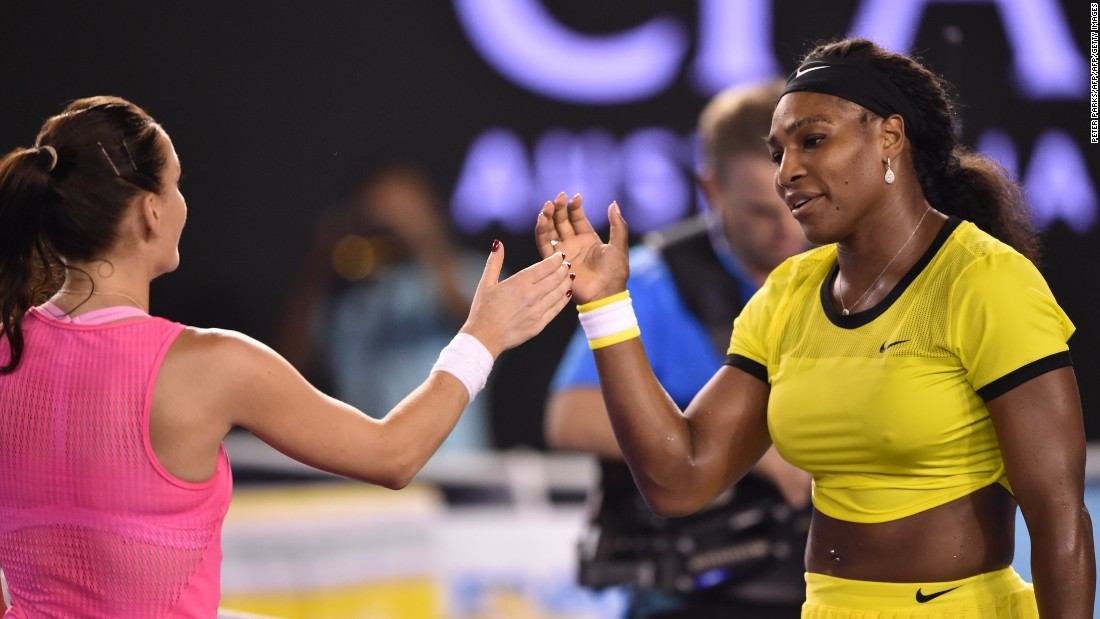 Serena Williams eased into the Australian Open final with a 6-0 6-4 victory over Agnieszka Radwankska.