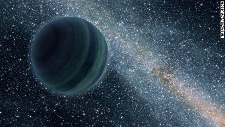 An artist's impression of a Jupiter-like free-floating planet.