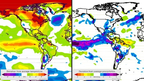 Map on left shows how the average temperature during the last 90 days is different from the average temperature of the same 90 days from 1981 to 2010. On the right, the rate of precipitation during the last 90 days is compared to the rate from the same period from 1981 to 2010.